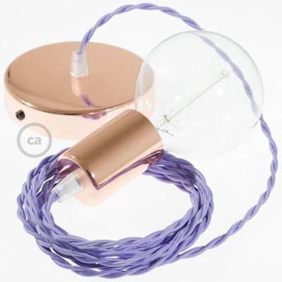 Pendel singolo, lampada sospensione cavo tessile Effetto Seta Lilla TM07