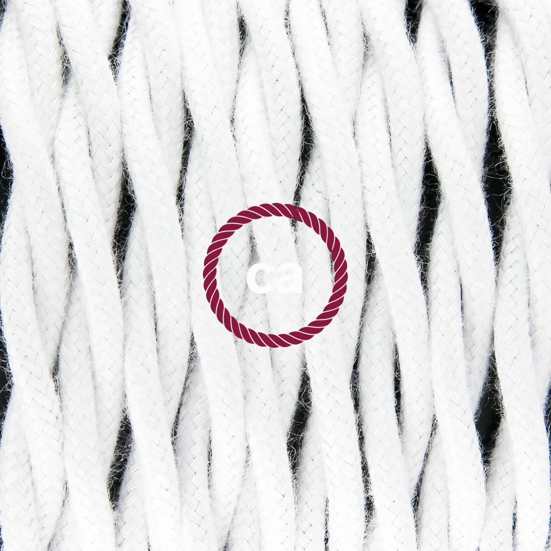 Pendel singolo, lampada sospensione cavo tessile Cotone Bianco TC01