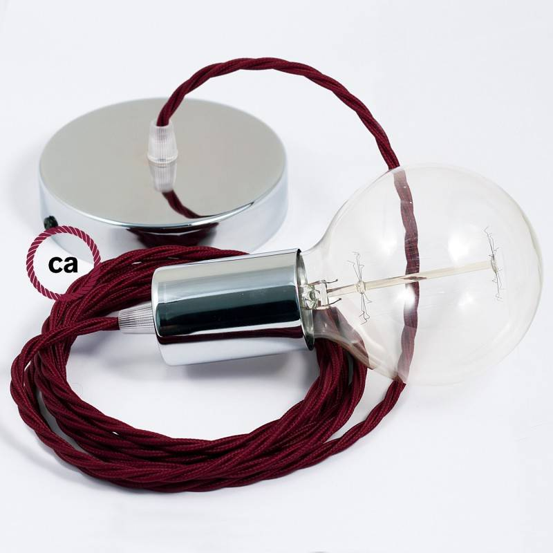 Pendel singolo, lampada sospensione cavo tessile Effetto Seta Bordeaux TM19