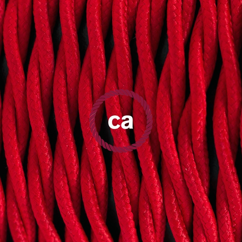Pendel singolo, lampada sospensione cavo tessile Effetto Seta Rosso TM09