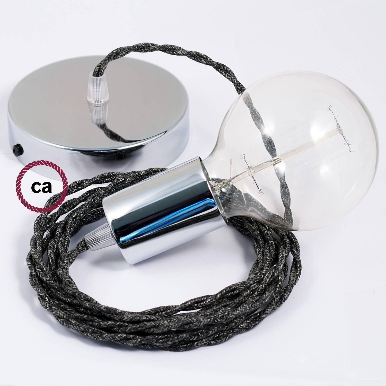 Pendel singolo, lampada sospensione cavo tessile Lino Naturale Antracite TN03
