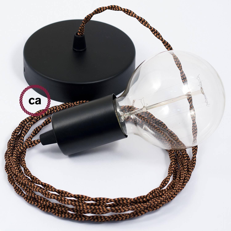 Pendel singolo, lampada sospensione cavo tessile Effetto Seta Nero e Whiskey TZ22