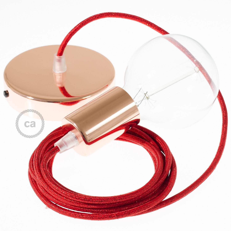 Pendel singolo, lampada sospensione cavo tessile Glitterato Rosso RL09
