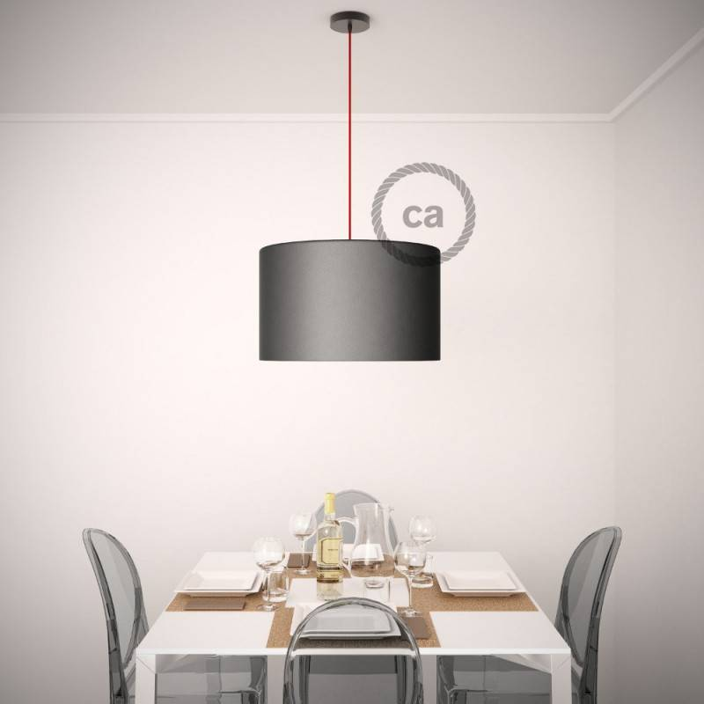Pendel per paralume, lampada sospensione cavo tessile Cotone Nero RC04