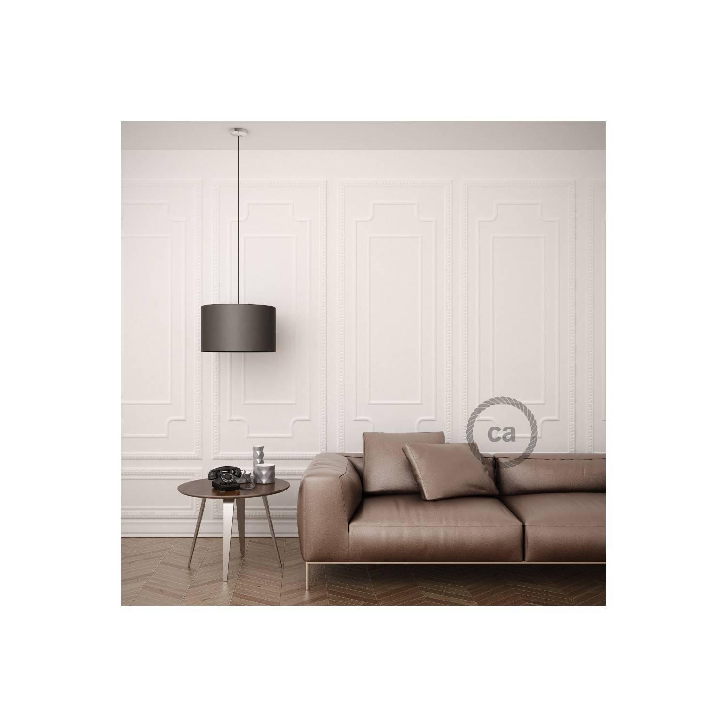 Pendel per paralume, lampada sospensione cavo tessile Effetto Seta Marrone RM13