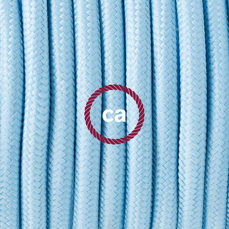 Pendel per paralume, lampada sospensione cavo tessile Effetto Seta Azzurro Baby RM17