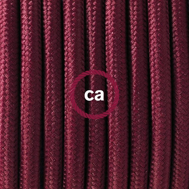 Pendel per paralume, lampada sospensione cavo tessile Effetto Seta Bordeaux RM19