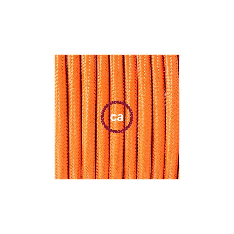 Pendel per paralume, lampada sospensione cavo tessile Effetto Seta Arancione RM15