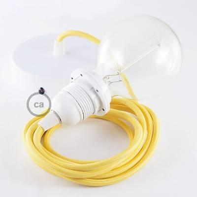 Pendel per paralume, lampada sospensione cavo tessile Effetto Seta Giallo RM10