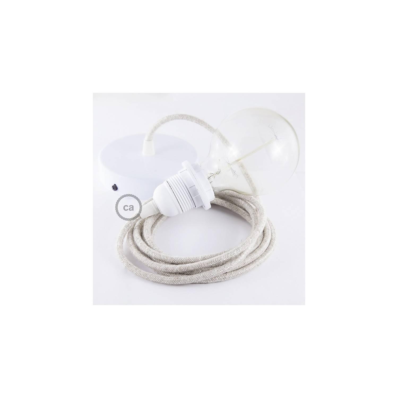 Pendel per paralume, lampada sospensione cavo tessile Lino Naturale Neutro RN01