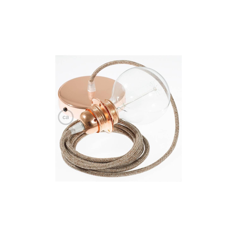 Pendel per paralume, lampada sospensione cavo tessile Lino Naturale Glitterato Marrone RS82