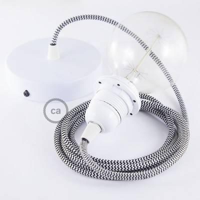 Pendel per paralume, lampada sospensione cavo tessile ZigZag Nero RZ04