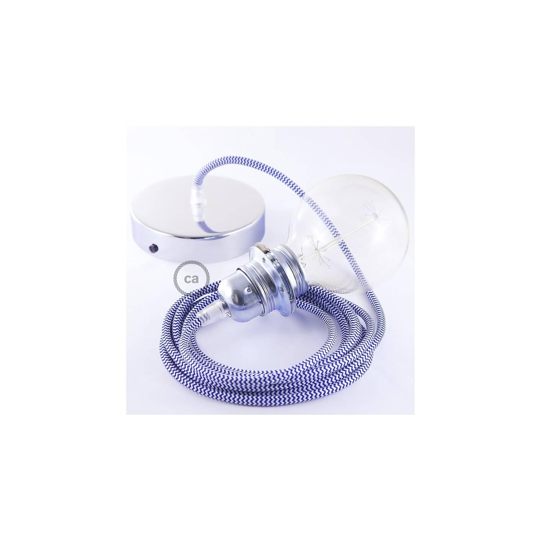 Pendel per paralume, lampada sospensione cavo tessile ZigZag Blu RZ12