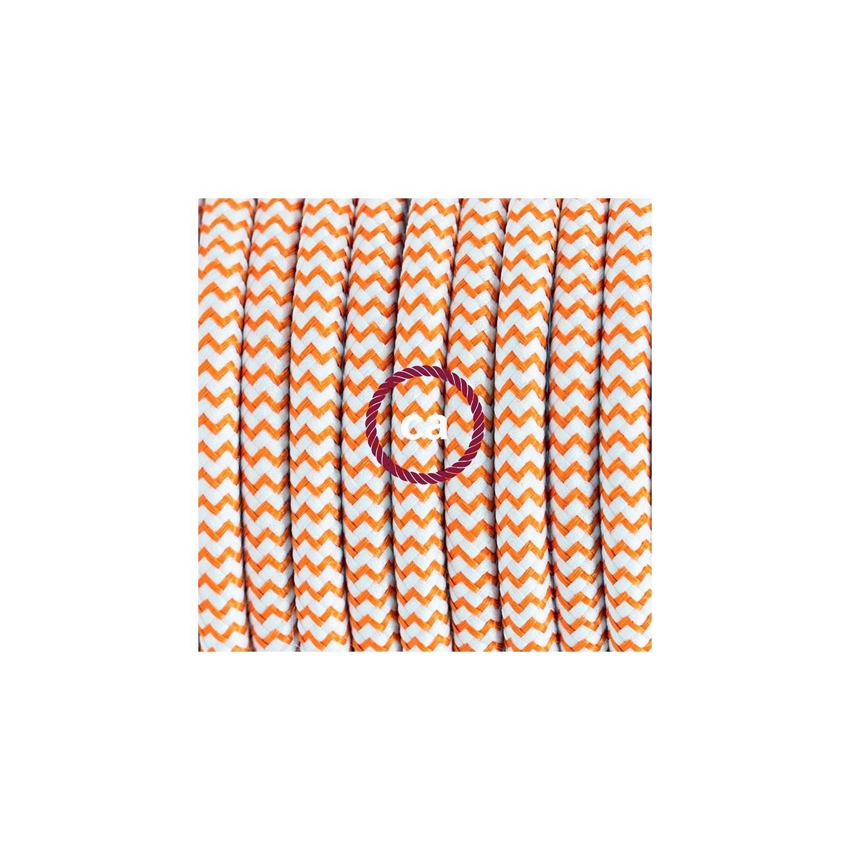 Pendel per paralume, lampada sospensione cavo tessile ZigZag Arancione RZ15