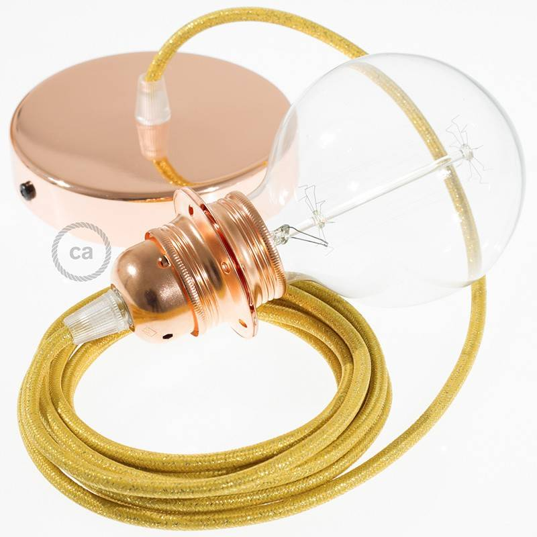 Pendel per paralume, lampada sospensione cavo tessile Glitterato Oro RL05