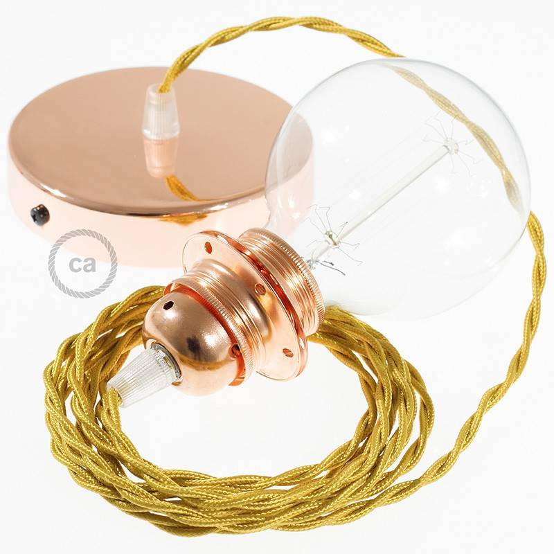 Pendel per paralume, lampada sospensione cavo tessile Effetto Seta Oro TM05