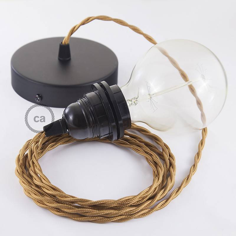 Pendel per paralume, lampada sospensione cavo tessile Effetto Seta Whiskey TM22