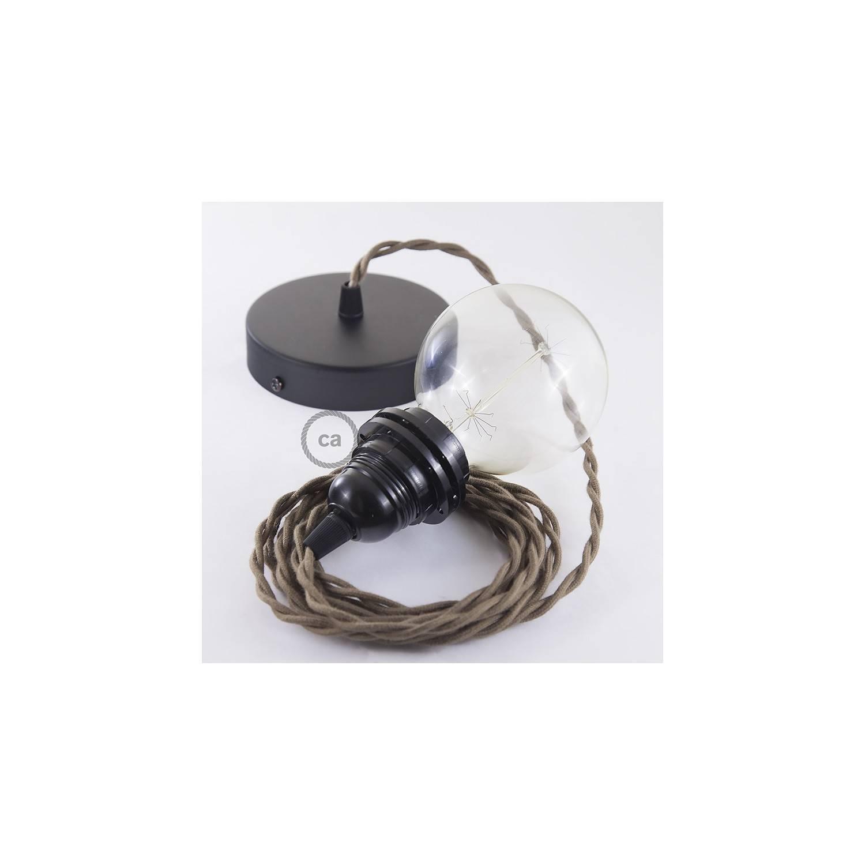 Pendel per paralume, lampada sospensione cavo tessile Cotone Marrone TC13