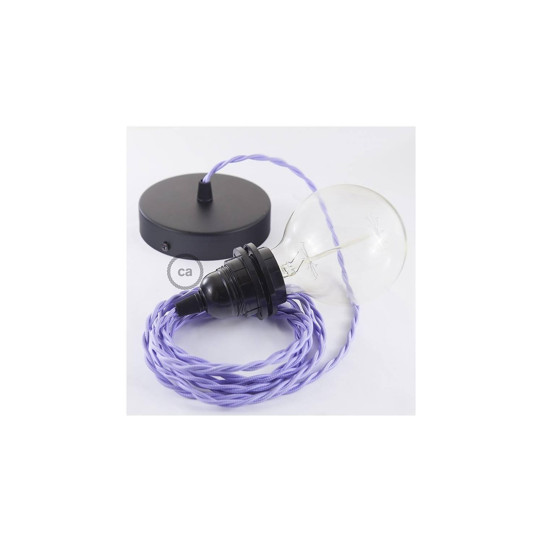 Pendel per paralume, lampada sospensione cavo tessile Effetto Seta Lilla TM07