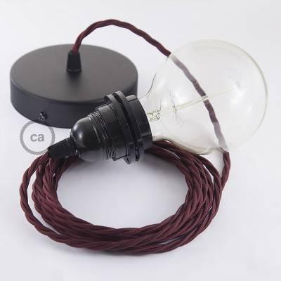 Pendel per paralume, lampada sospensione cavo tessile Effetto Seta Bordeaux TM19