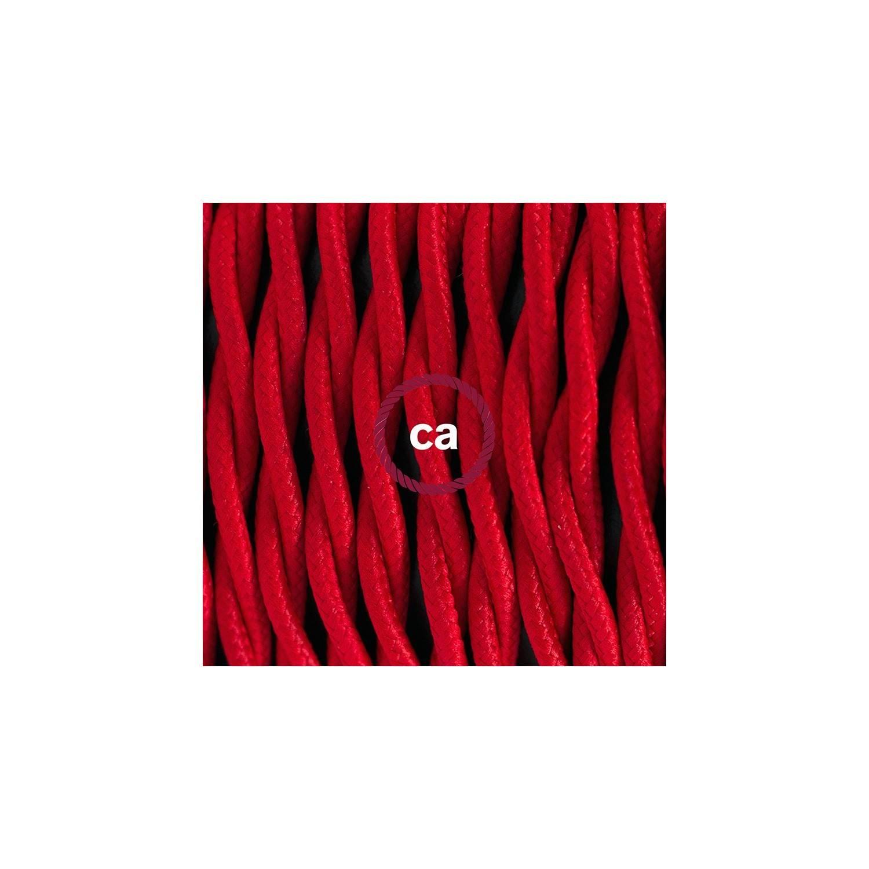 Pendel per paralume, lampada sospensione cavo tessile Effetto Seta Rosso TM09