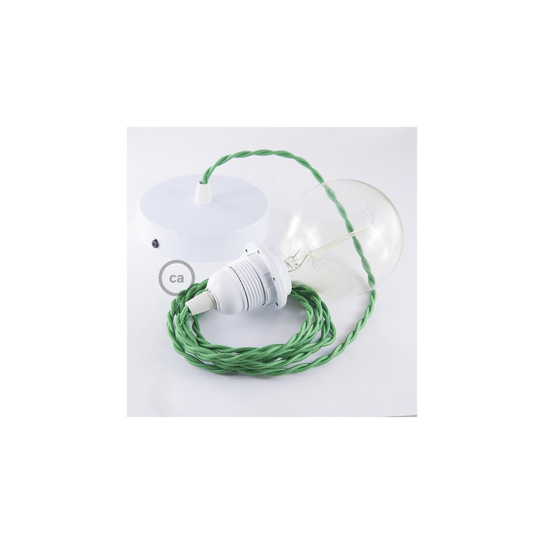 Pendel per paralume, lampada sospensione cavo tessile Effetto Seta Verde TM06