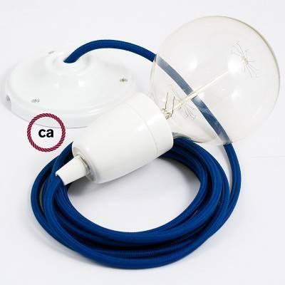 Pendel in porcellana, lampada sospensione cavo tessile Effetto Seta Blu RM12