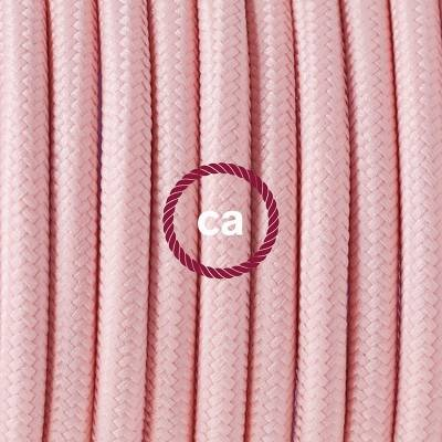 Pendel in porcellana, lampada sospensione cavo tessile Effetto Seta Rosa Baby RM16