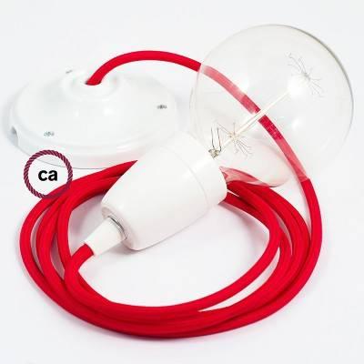 Pendel in porcellana, lampada sospensione cavo tessile Effetto Seta Rosso RM09
