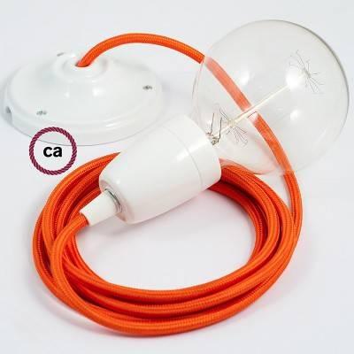 Pendel in porcellana, lampada sospensione cavo tessile Effetto Seta Arancione RM15