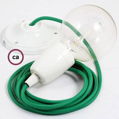 Pendel in porcellana, lampada sospensione cavo tessile Effetto Seta Verde RM06