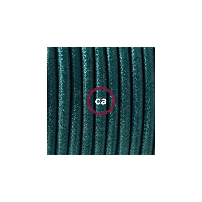 Pendel in porcellana, lampada sospensione cavo tessile Effetto Seta Verde scuro RM21