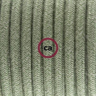 Pendel in porcellana, lampada sospensione cavo tessile Cotone Grigio Verde RC63
