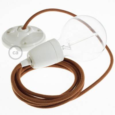 Pendel in porcellana, lampada sospensione cavo tessile Cotone Daino RC23
