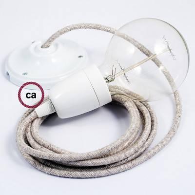Pendel in porcellana, lampada sospensione cavo tessile Lino Naturale Neutro RN01