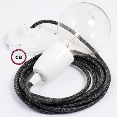Pendel in porcellana, lampada sospensione cavo tessile Lino Naturale Antracite RN03