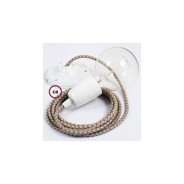 Pendel in porcellana, lampada sospensione cavo tessile Losanga Corteccia RD63
