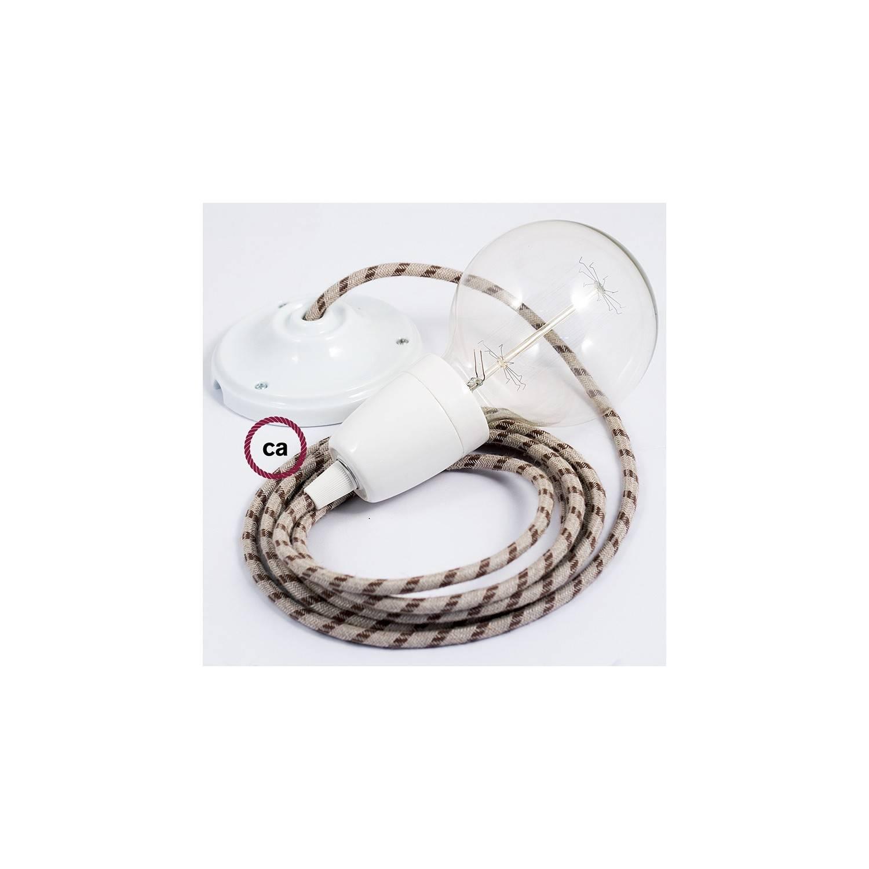 Pendel in porcellana, lampada sospensione cavo tessile Stripes Corteccia RD53