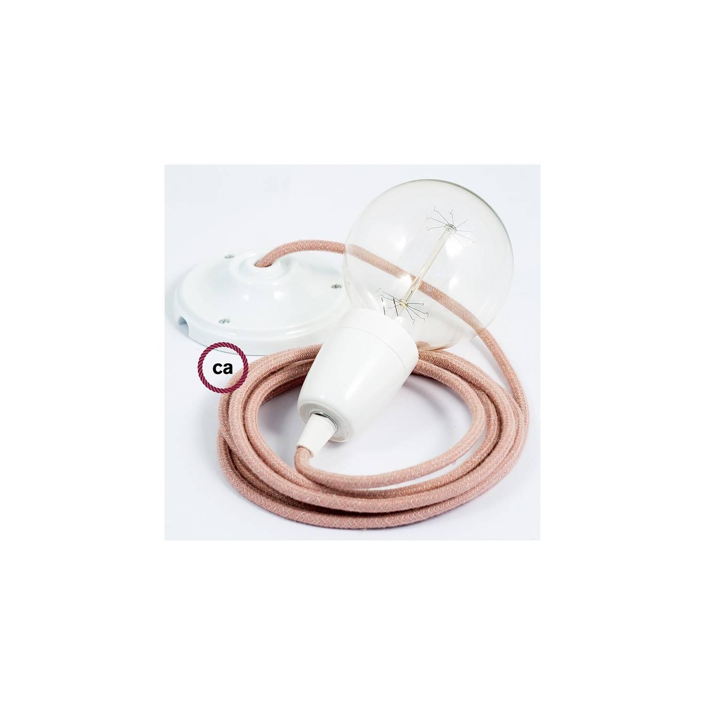 Pendel in porcellana, lampada sospensione cavo tessile ZigZag Rosa Antico RD71