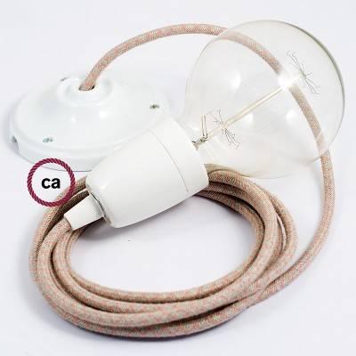 Pendel in porcellana, lampada sospensione cavo tessile Losanga Rosa Antico RD61