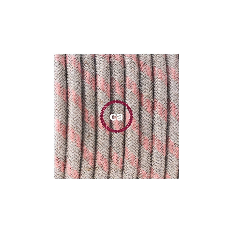 Pendel in porcellana, lampada sospensione cavo tessile Stripes Rosa Antico RD51
