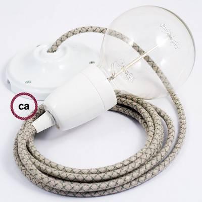 Pendel in porcellana, lampada sospensione cavo tessile Losanga Verde Timo RD62