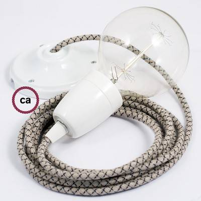 Pendel in porcellana, lampada sospensione cavo tessile Losanga Antracite RD64
