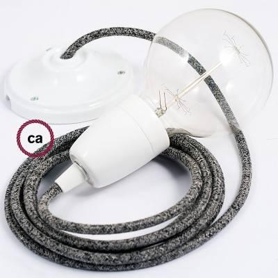 Pendel in porcellana, lampada sospensione cavo tessile Lino Naturale Glitterato Nero RS81