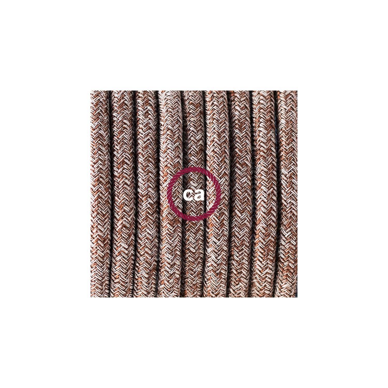 Pendel in porcellana, lampada sospensione cavo tessile Lino Naturale Glitterato Marrone RS82
