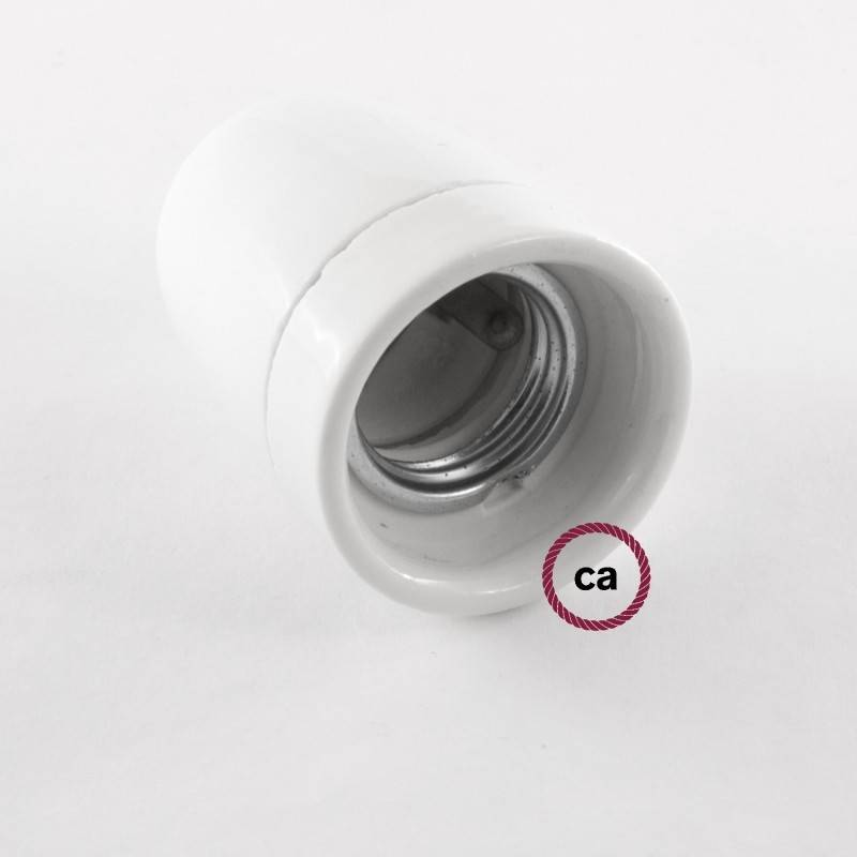 Pendel in porcellana, lampada sospensione cavo tessile Lino Naturale Glitterato Rosso RS83