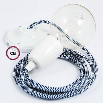 Pendel in porcellana, lampada sospensione cavo tessile ZigZag Blu RZ12