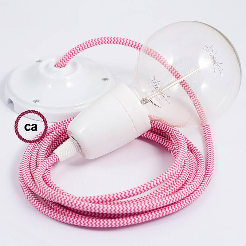 Pendel in porcellana, lampada sospensione cavo tessile ZigZag Fucsia RZ08