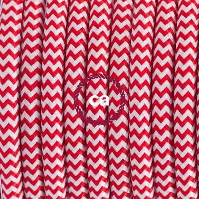 Pendel in porcellana, lampada sospensione cavo tessile ZigZag Rosso RZ09