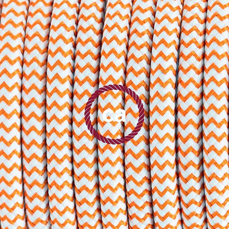 Pendel in porcellana, lampada sospensione cavo tessile ZigZag Arancione RZ15